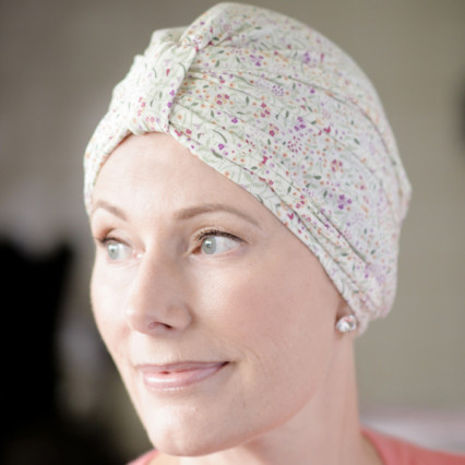 Turban style hat for cancer patients in Liberty Jersey