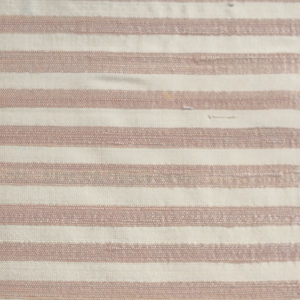 Silk dupion pink cream stripe fabric
