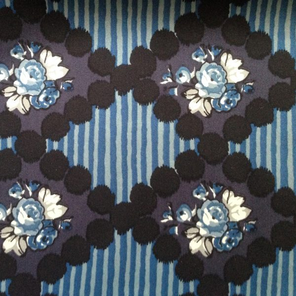Cancer Scarf Fabric in Silk Geometric Floral Blue Pattern
