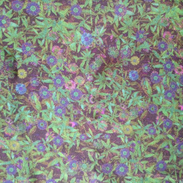 Cancer Scarf Silk Fabric with Small Leaves and Floral Green pattern