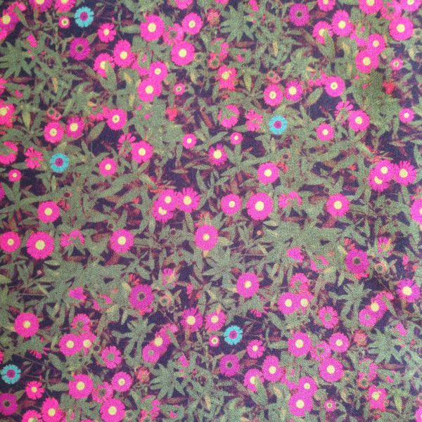 Cancer Scarf Fabric in Silk with Small Khaki and Pink Floral Pattern