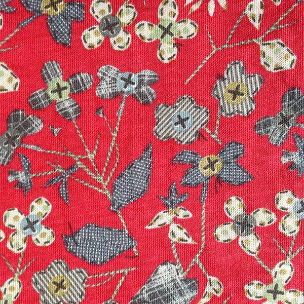 Red grey flower Liberty Jersey fabric for cancer hat
