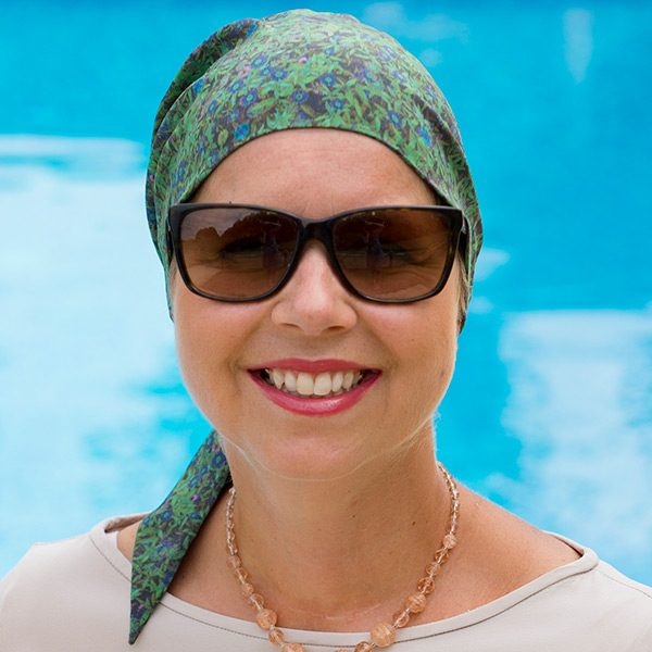 Tilly Silk Scarf in Green for Cancer Patients