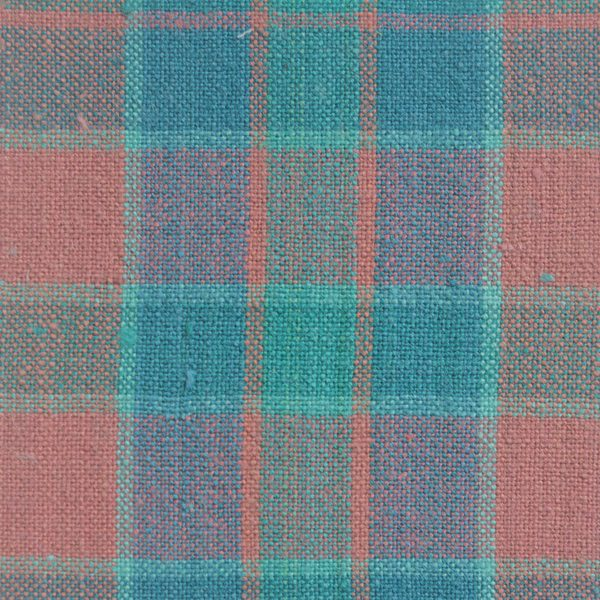 Cotton green turquoise and pink checked fabric