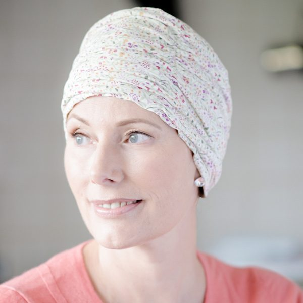 Ruched hat for cancer patients in Liberty jersey