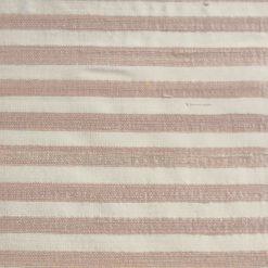 Silk dupion pink cream stripe fabric