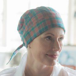 check fabric chemo headscarf