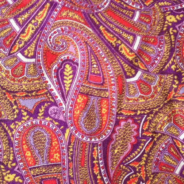 Purple Paisley Liberty Jersey fabric for Cancer Hat