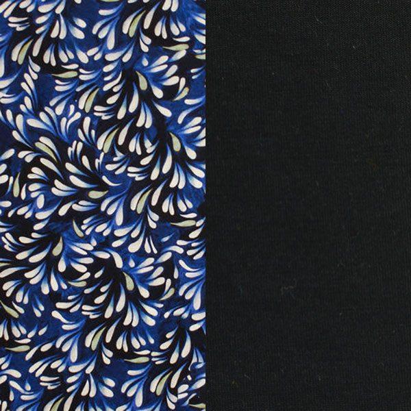 Caroline Cancer Turban in Liberty Navy Drift and Black Bamboo Fabric