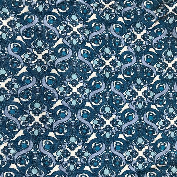Liberty Jersey Blue White Swirl Fabric