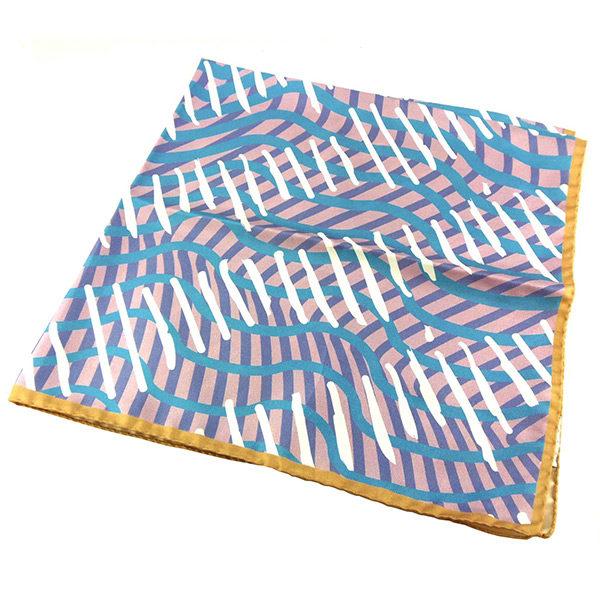 Silk Scarf Cancer Turban Wiggly Stripes Blue Pink