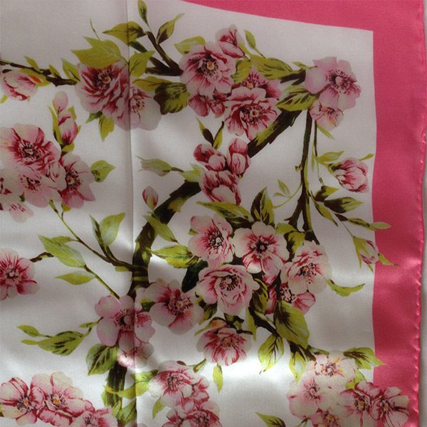White pink blossom silk fabric for cancer scarf