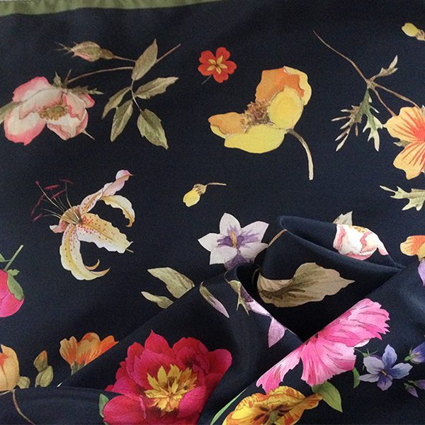 Black and Khaki Silk Scarf Turban