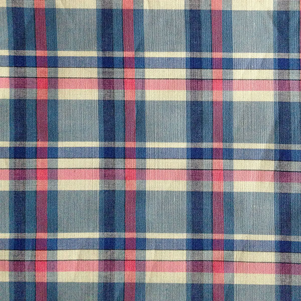 Blue pink cream check cotton fabric for chemo scarf