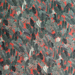 Liberty Jersey red grey leaves fabric for cancer hat