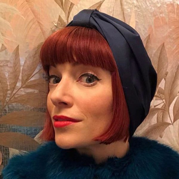 Navy Satin Turban for Chemo Patients