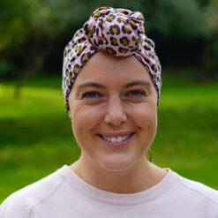 Amber Turban in Pink Leopardprint Fabric